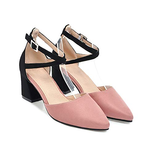 huayun Square high Heels Women Sandals Summer Female Mixed Color Party Wedding Shoes,Pink,8 -