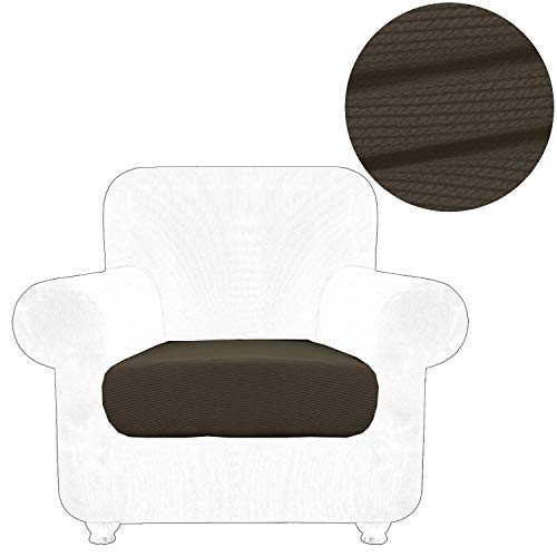 ANJUREN Chair Sofa Seat Cushion Slipcover Cover for 1 Seater Armchair Wing Back Recliner Sofa Couch T Cushions Seat Stripes Stretch Living Room Furniture Slip Covers (Chair Cushion, Coffee)