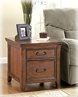 wooden rectangular end table with file cabinet