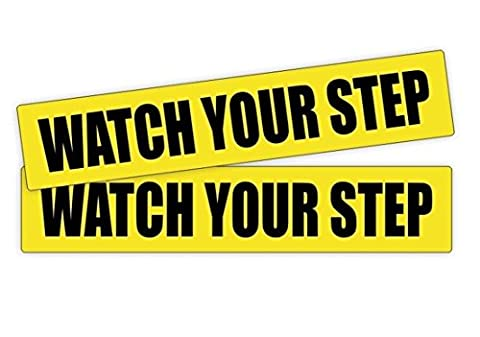 2-Pc Great Popular Watch Your Step Vinyl Stickers Car Safety Caution Truck Gasoline Weatherproof Size 1-1/4