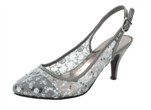Spot On Mesh Slingback Damen Pumps Argent - Pewter