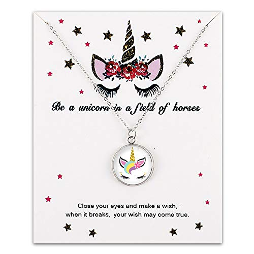 All Things Jaz-ze Unicorn Necklaces for Little Girls Birthday,Sleepover Parties - Cute Colorful Rainbow Fairy Tale Pendant Jewelry Wish Unicorn Gifts for Kids, Best Friends - (Rainbow Unicorn 2) (Birthday Wishes For Girl Best Friend)