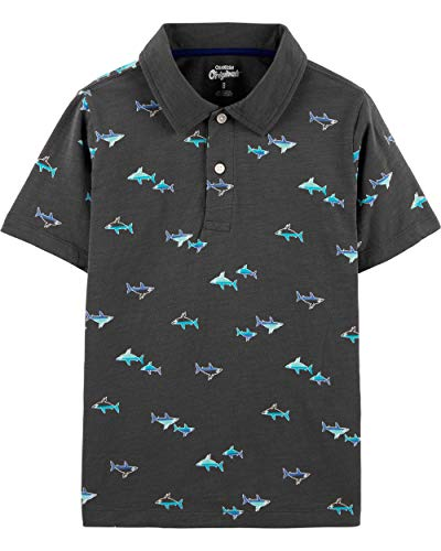 Osh Kosh Boys' Little Short-Sleeve Polo, Phantom Shark, 7