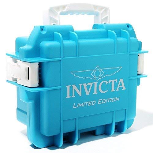 Invicta Waterproof Dive/Impac?t Case - 3 Slot Aqua (White Handles) (Watches For Men Invicta Aqua)