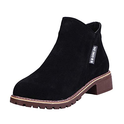 Sunmoot Women Suede Round Toe Flat Ankle Boots -