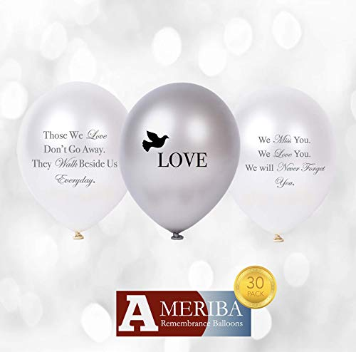 Biodegradable Remembrance Balloons: 30pc White & Silver Funeral Balloons for Balloon Releases & Sympathy Gifts | Created/Sold by AMERIBA, a USA Company (Variety Pack with Gray & Black -