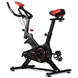 Goplus Indoor Cycling Bike Stationary Bicycle with Heart Rate Sensors, 4-Position Adjustable Saddle, LCD Display, Professional Exercise Bike for Home and Gym Use