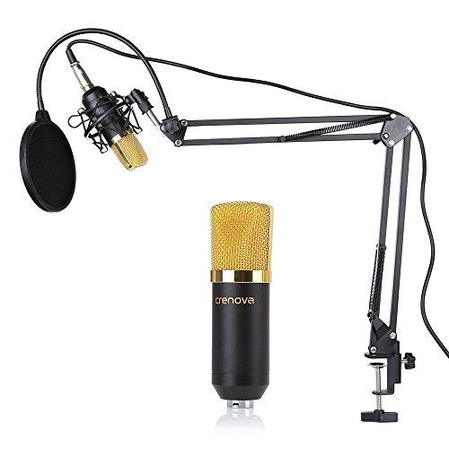 Mikrofon Set, Crenova MC-05 Kondensator Mikrofon Kit Professional Studio Rundfunk Aufnahme Kondensatormikrofon + Aufhängung Scherenarm Stand + Shock Einfassung + Mic Filter + Kugel-Foam Cap