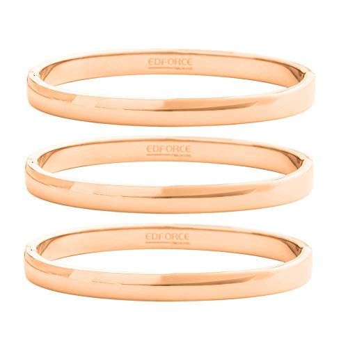 Edforce Stainless Steel 18k Rose Gold Plated Women