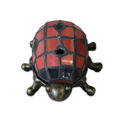 Plamd LED Battery Operated Stained Glass Red Ladybug Accent Lamp