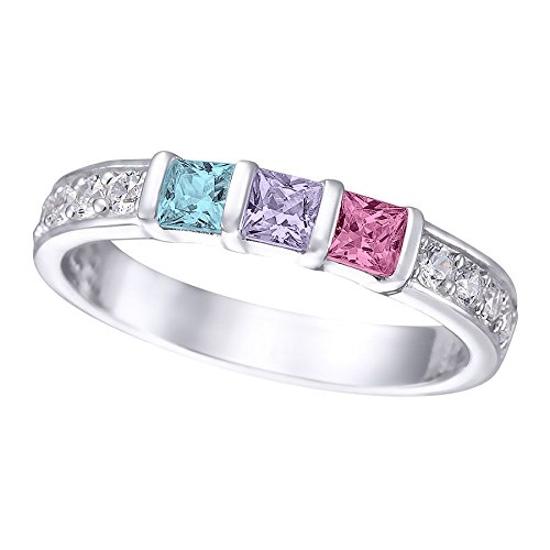 Princess Cut Channel Set Custom Birthstone Mothers Ring with 1 2 3 4 5 or 6 Birthstones and CZ Side Accent Diamonds