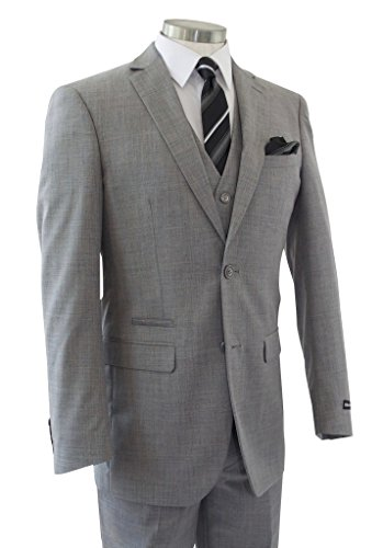 Alberto Cardinali Men's Sharkskin 3-Piece 2 Button Slim-Fit Suit w/ Matching Vest [Color: Light Gray | Size: 50 Regular / 44 Waist] by Alberto Cardinali