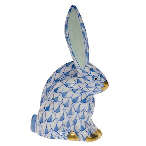 Herend Miniature Rabbit Figurine Blue Fishnet