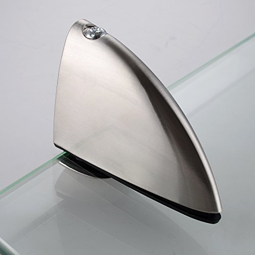 Kes bathroom tempered glass shelf 14 inch 8mm thick wall Glass bathroom shelf brushed nickel