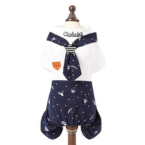 YOTATO Pet Cute Navy Style Dog Dress Clothes Cat Puppy Dog Couple Costume Cotton Hoodies Small Dogs Cats ()