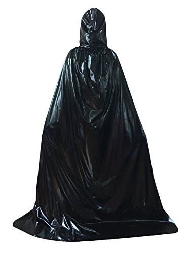 Beautifulfashionlife Full Length Men Hooded Cape Cloak Role Play Costume Mental Black L