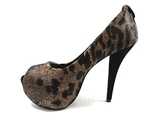 STUART WEITZMAN AZ697 Zapatos de Salón Mujer 36 EU Zapatos de Salón Pelo de becerro Marrón Negro