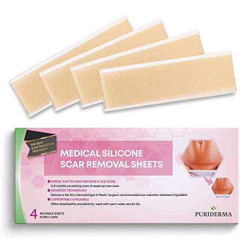 Puriderma Medical Silicone Scar Removal Extra Large Sheets [5.9''x1.57''] - Fast & Effective on Keloid, Surgery, Burn, Acne, C-Section Scars, 4 Reusable pcs (Best Scar Cream For Tummy Tuck)