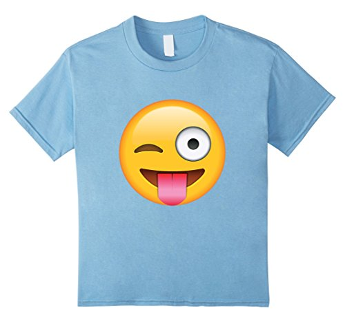 Unisex-Child Sticking Tongue Out Wink Face Emoji T Shirt