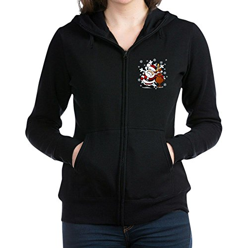 Truly Teague Women's Zip Hoodie (Dark) Santa Claus & Rudolf: Best Friends Forever - Black, (Forever Womens Zip Hoodie)