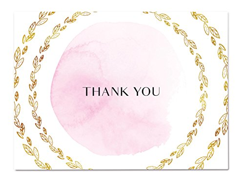 Pink Watercolor Thank You Cards by Luxye - 36 Pink Thank You Notes and Envelopes - Best for Baby & Bridal Showers, Weddings & Anniversaries - Made In USA (Pink Wreath)