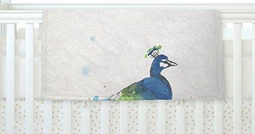 KESS InHouse Rebecca Bender Abstract Watercolor Peacock Blue Teal Fleece Baby Blanket 40 x 30 [並行輸入品]   B077YZWLQJ