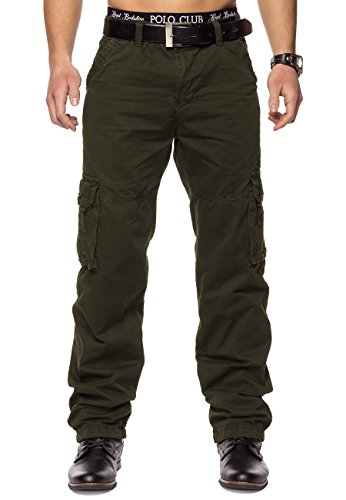 Herren Cargohose Indy Jones ID1153 Straight Fit , Farben:Dunkelgrün;Größe Hosen:W32