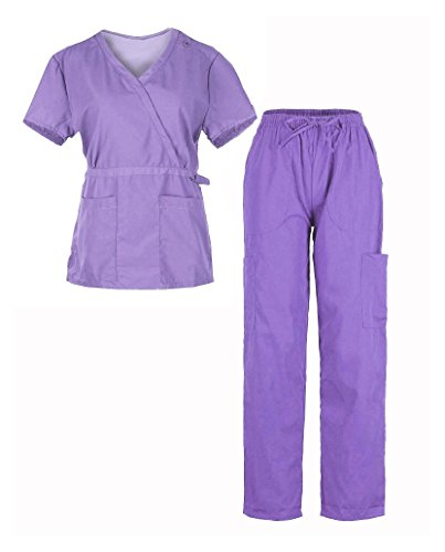 G Med Women's Mock Wrap Back Tie Top and Pants Fashion Scrub Set(Set-Med,LPL-XL) (Mock Luxe Wrap)