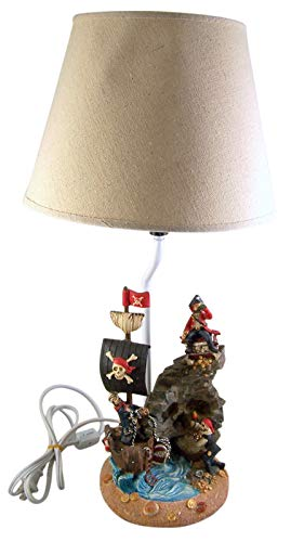 Large Pirate Ship Table Lamp with Off-White Shade, 19 1/2 Inches