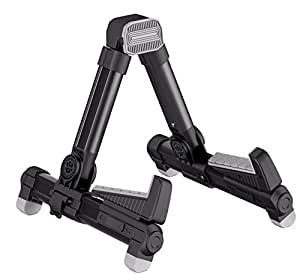 GuitarSense GS-ST1- Super Compact A-Frame Adjustable Folding Guitar Stand for Acoustic, Classical & Electric instruments (Black)