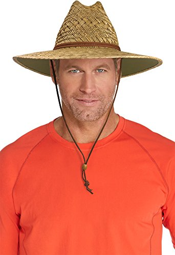 Coolibar UPF 50+ Men's Bondi Straw Beach Hat - Sun Protective (Large/X-Large- Natural)