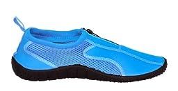 Rockin Footwear Kids Aqua Neon Zippers Blue Rubber Water Shoe Size 11