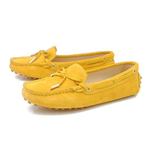 Meijili Women's Suede Leather Loafer Flats Driving Moccasin Work Casual Peas Shoes Yellow