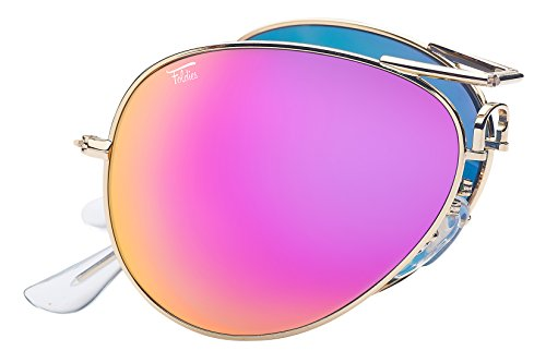 Foldies Gold Folding Aviators with Polarized Pink Mirrored ()