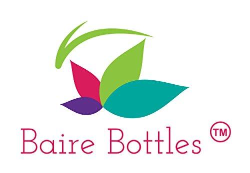 6 oz Clear Cosmo Oval Plastic BAIRE BOTTLES, Black Disc Top Caps 6 Pack, BONUS 6 FLORAL WATERPROOF LABELS by Baire Bottles (Image #3)