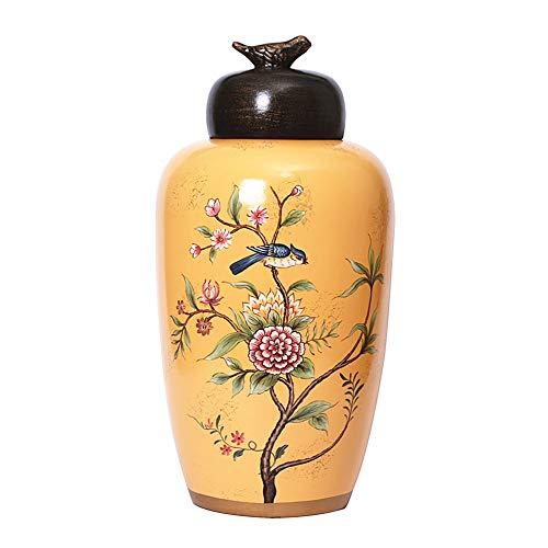 Anding Ceramic Vase, Home Decor Chinese Vase Home Decoration, Modern Vase, Yellow Vase, Porcelain Pot Pitcher (LYK012-1) (Vase Large Chinese)