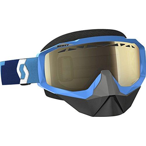 Scott Hustle Adult Snocross Snowmobile Goggles Eyewear - Blue/Light Sensitive Bronze Chrome Lens/One Size
