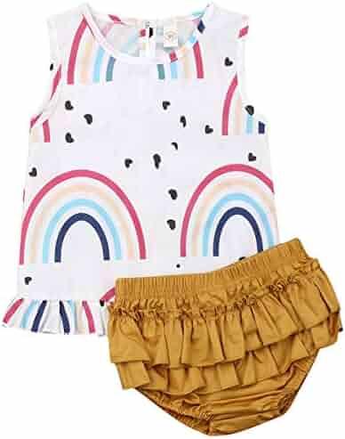 Aunavey 2Pcs Fashion Toddler Kids Baby Girl Ruffles Shirt Top+Denim Shorts Outfits