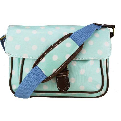 Miss Lulu–Bolso de bolsa de hule–diseño de lunares Light Blue Polka Dot