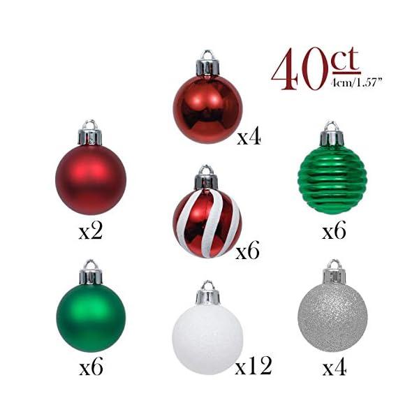 Valery Madelyn Palle di Natale 40 Pezzi 4 cm Palline di Natale, Collezione Classica Essenziale Rosso Verde e Bianco Ornamenti di Palla di Natale Infrangibili di Base per la Decorazione 3 spesavip