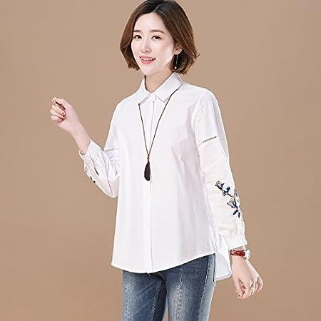 XXIN /Primavera/Mujer Nueve Mangas Bordado Camisa Blanca ...