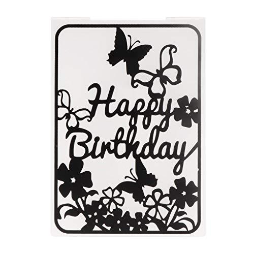 PoityA Plastic Embossing Folder Template for DIY Scrapbook Photo Album Card Paper Craft Happy Birthday Butterfly