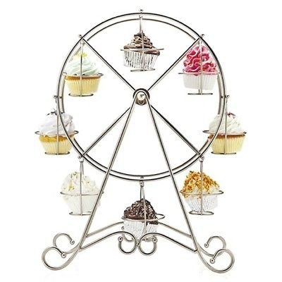 PunPund Cupcake stand ferris wheel silver plated metal cake holder display decoration wedding birthday cerebetion party cute