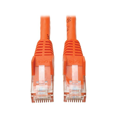 Tripp Lite Cat6 Gigabit Ethernet Snagless Molded Patch Cable 24 AWG 550MHz Premium UTP, Orange, RJ45 M/M 50' (N201-050-OR) (Awg 24 Cord Patch)