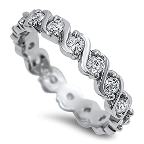 (White CZ Eternity Polished Swirl Stackable Ring Sterling Silver Band Size)