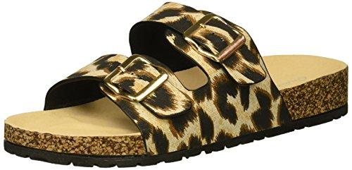 Qupid Women's Slide in Sandal Flat, Leopard, 10 M US