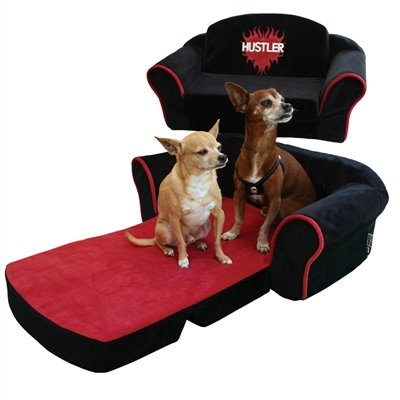 Pet Flys Black Hustler with Red Interior Pull Out Pet Sleeper Sofa Bed by Pet Flys