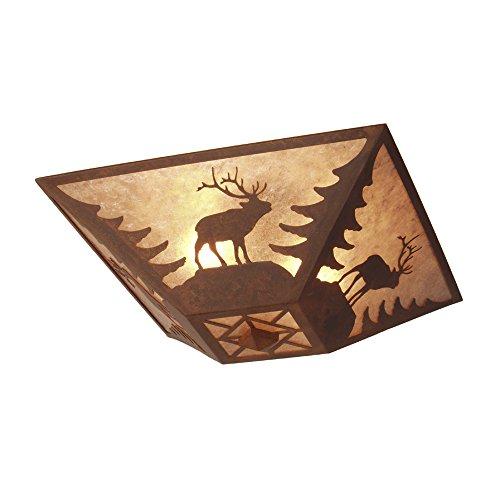 (Steel Partners Lighting Rustic Drop Ceiling Mount, Elk, Rust Finish, White Mica Lens, Made in USA, Indoor Lighting Fixture for Bathroom, Bedroom, Dining Room, Kitchen)