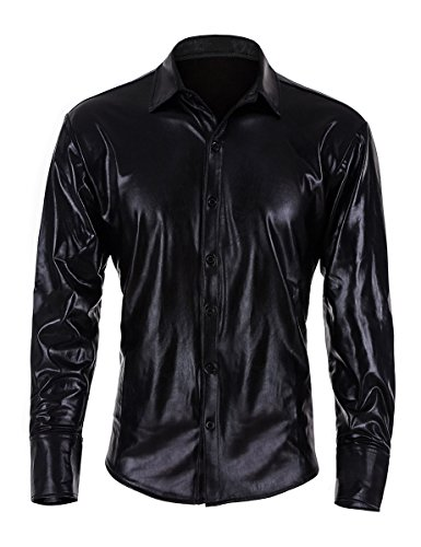 Idopy Mens Trend Nightclub Black Coating Metallic Button Down Shirts Black XS
