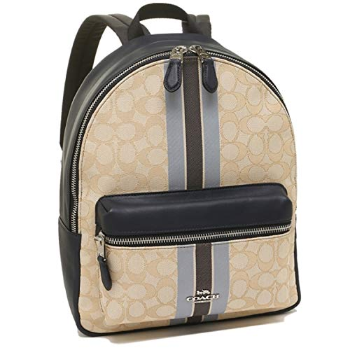 Coach Medium Charlie Backpack In Signature Jacquard With Stripe Khaki Multi